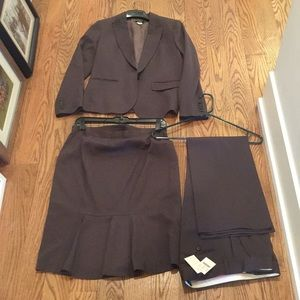 J.Crew green gray pants suit with a skirt